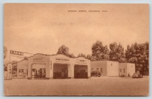 Duchesne UT~Mission Standard Gasoline Station & Cabins Motel~Cafe~Sepia 1945 PC