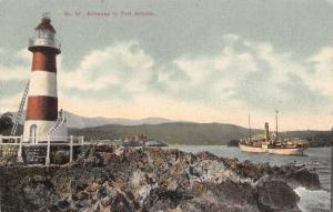 Port Antonio Jamaica~Folly Lighthouse~Steamship in Harbor~1910 Postcard