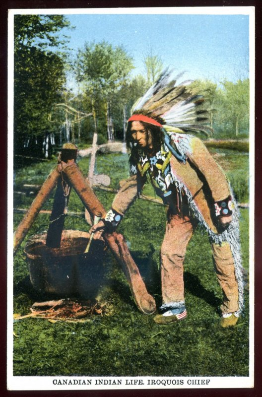 dc668 - CANADA Postcard 1920s Indian Iroquois Chief