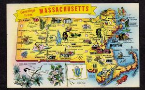 MA Greetings From Mass Massachusetts State Map Postcard Bird Flag Carte Postale