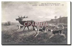 Postcard Old Dogs Dog Hunting hounds was the last debucher Maisson Cerf