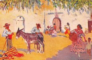 Spain Un cortijo: M. Bertuchi, donkey