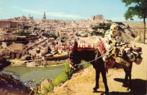 SPAIN. TOLEDO - VISTA GENERALE donkey with clay pottery 1964
