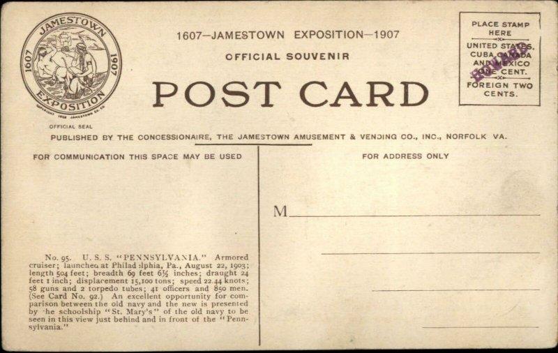 1907 Jamestown Expo Battleship USS Pennsylvania Ship Postcard