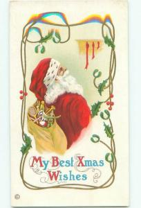 Pre-Linen Christmas SANTA CLAUS LOOKS AT THE STOCKINGS AB5000