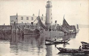 Lighthouse and Trawler Scarborough Boats Scotland Real Photo Postcard