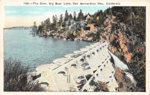 Big Bear Lake California~The Dam~San Bernardino Mountains~1940s Postcard