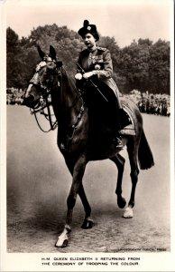 Queen Elizabeth II young Trooping the color horseback vintage postcard