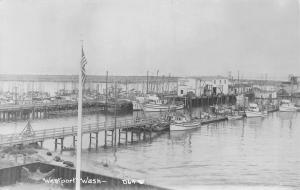 Westport WA Fishermen's Cooperative~US Flag, Sailboats on Dock c1950 RPPC
