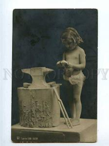127353 Nude Girl as CUPID Blacksmith vintage PHOTO RPH #138 PC