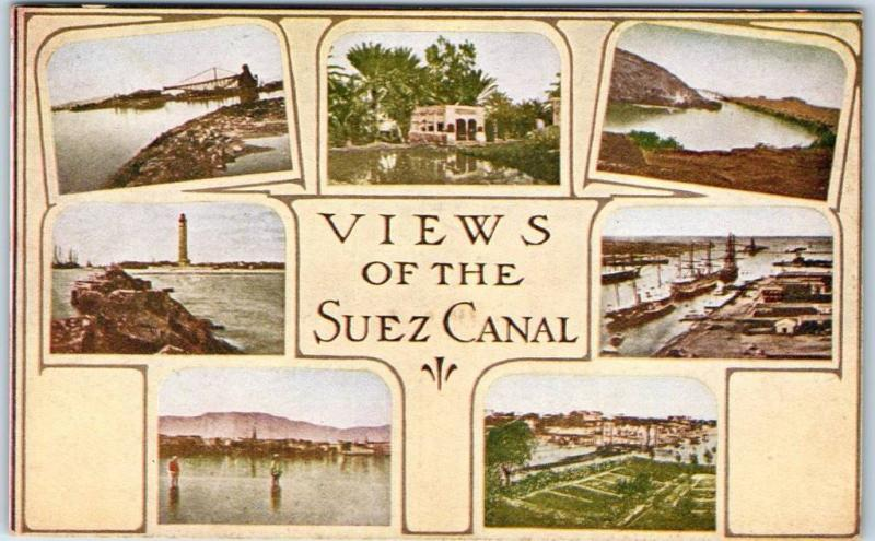 Vintage Egypt Postcard VIEWS OF THE SUEZ CANAL Multi-View c1909 UNUSED