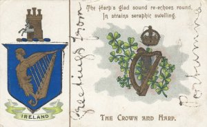 Greetings from PORTUMNA, Ireland, 1900-10s; Coat of arms, The Crown & Harp