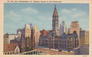 Pennsylvania Philadelphia City Hall With Masonic Temple In Left Foreground Cu...