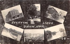 Union Iowa~Mini Multi View~M&StL Railroad Depot~Train~Main Street~Dam~1916 RPPC