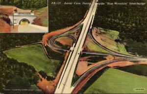 Pennsylvania Turnpike Aerial View Blue Mountain Interchange Curteich