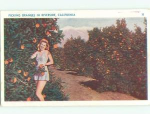 1947 Risque PRETTY GIRL PICKS ORANGES Riverside - Los Angeles CA W5400