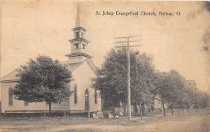 E68/ Bolivar Ohio Postcard 1908 St Johns Evangelical Church