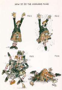 How To Do The Highland Fling Dance Guide Scottish Comic Humour Postcard