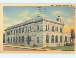 Linen POST OFFICE SCENE Oshkosh Wisconsin WI hs1544