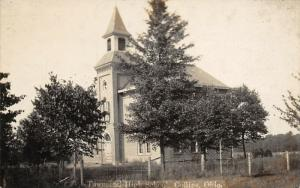Collins Ohio~Pointy Belltower~Tall Pine Tree by Townsend High School~RPPC c1914