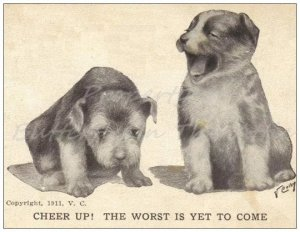1 Old Fashioned Looking Standard Postcard - Cute Dogs Funny Quips, Reproduction