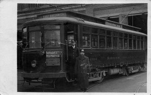 Providence RI East Greenwich Trolley Rare Card w/some Problems RPPC