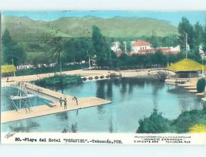 old rppc LOW AND HIGH DIVING BOARDS AT SWIM AREA Tehuacan - Puebla Mexico HM1634