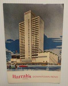 Postcard Harrah's Hotel Reno Nevada 1960s Unposted Giant Chrome Card