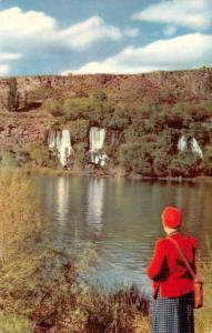 ID, Idaho  WOMAN IN RED HAT Viewing THOUSAND SPRINGS  No 151 Union Oil Postcard