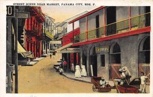 Panama Street scene near Market Panama City postcard