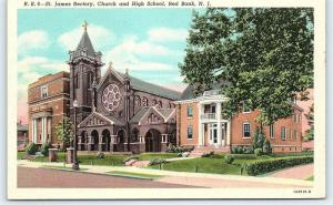 Postcard NJ Red Bank St. James Rectory Church & High School D6