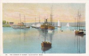 Massachusetts Gloucester The Harbor At Night Curteich