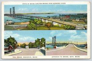 Woolwich Bath Maine~Toll House~Approach to Bridge~Carlton Bridge~Factories~1937