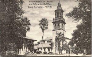 St Augustine Florida~Grace Methodist Church & Education Building~1940s B&W Linen