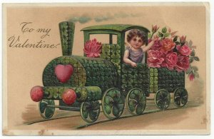 AS: VALENTINE, 1900-10s; Cupid in a flower locomotive, PFB 8026