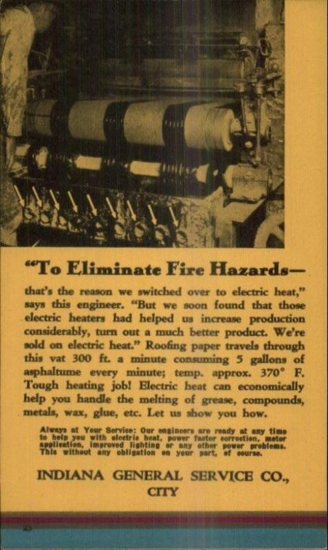 Indiana General Service Co Electric Heat Manufacturing Machinery Postal Card 1