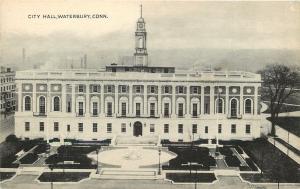 Waterbury Connecticut~City Hall~1930s B&W Postcard