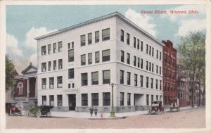 WARREN, Ohio, 1900-1910's; Stone Block, Classic Cars