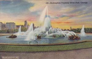 Illinois Chicago Buckingham Fountain Grant Park Curteich