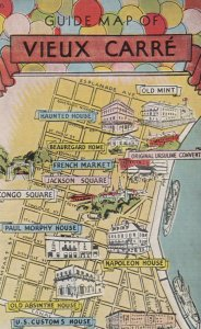Guide MAP of VIEUX CARRE , New Orleans , Louisiana , 1930-40s