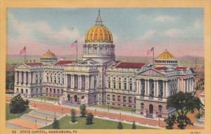 Pennsylvania Harrisburg State Capitol Building 1954 Curteich