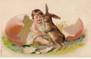 EASTER ; Baby & Rabbit , 1910