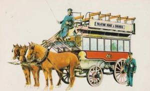 Palatine Road Cheadle Bus Horse & Cart Cheshire Manchester Transport Postcard