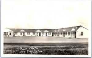 Sac City, Iowa RPPC Real Photo Postcard IRWIN MOTEL Roadside c1940s Unused