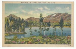 ME Doubletop and Oji Mts from Grassy Pond Vtg Linen Postcard