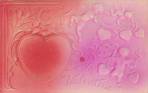 Embossed Valentine's Day Cupid With Heart 1908