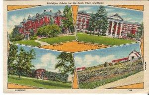 Michigan School for the Deaf, Flint Michigan Vintage Postcard Linen