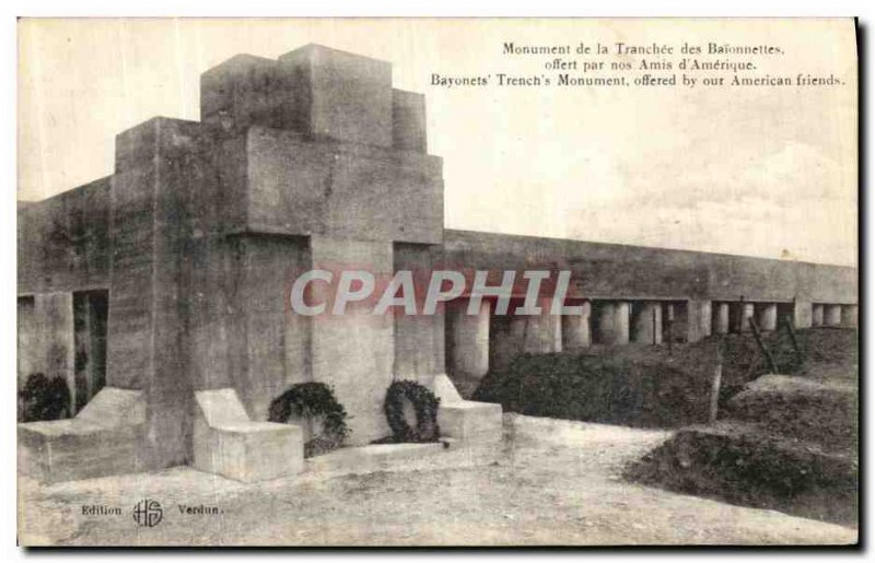Old Postcard Verdun Monument The Bayonet Trench Army