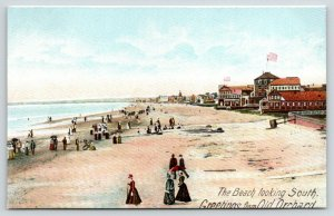 Old Orchard Maine~Victorian Ladies on Beach~South to Hotels~Inns~Artist~c1905 PC