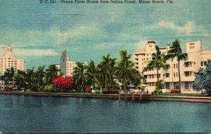 Florida Miami Beach Ocean Front Hotels From Indian Creek 1959 Curteich